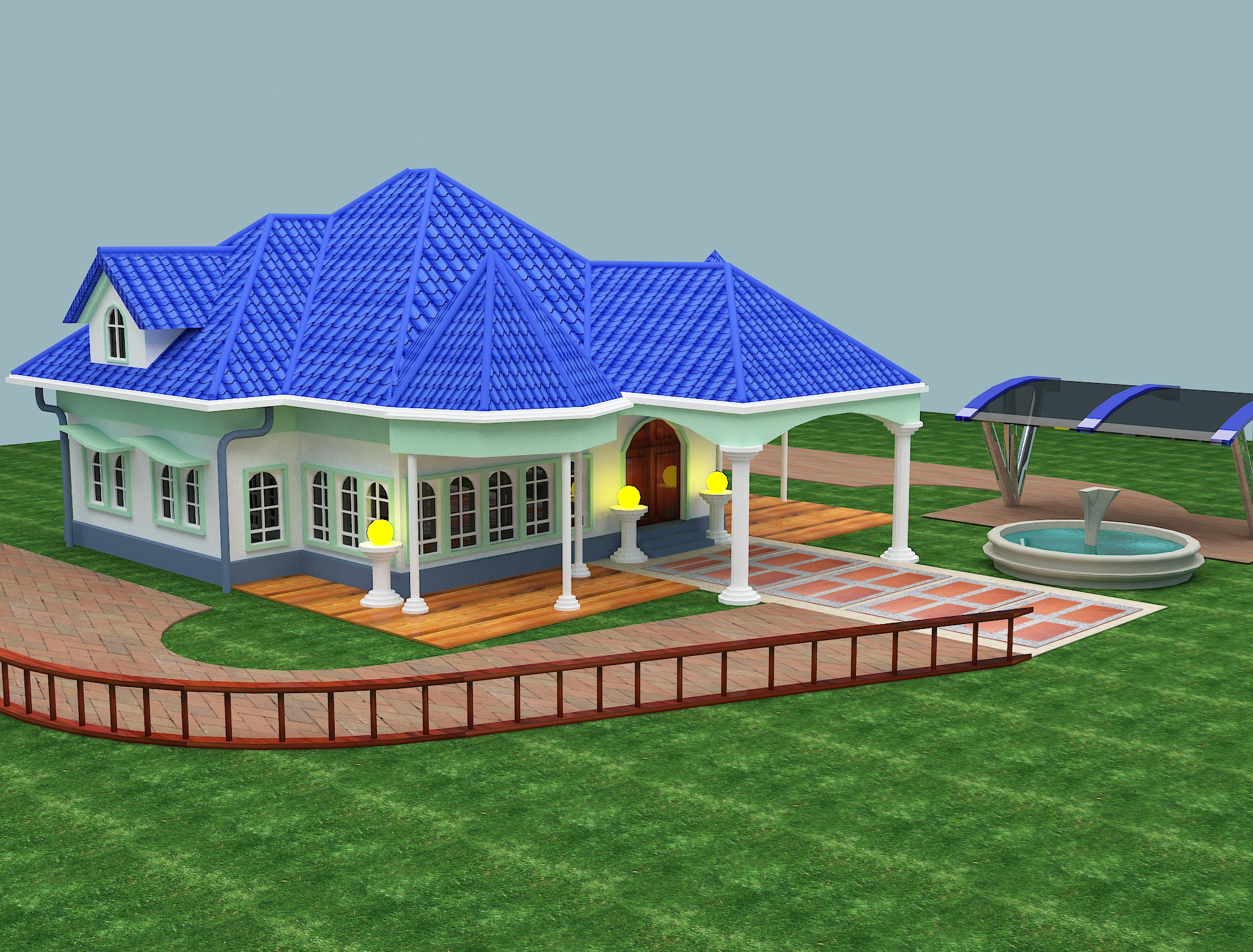 Blue Roof Bungalow In Autocad 2015 An Elevated Existence An Elevated Existence